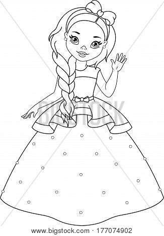 Little Princess waving her hand, Coloring Page