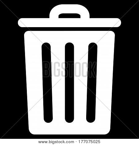 Dustbin vector icon. Flat white symbol. Pictogram is isolated on a black background. Designed for web and software interfaces.