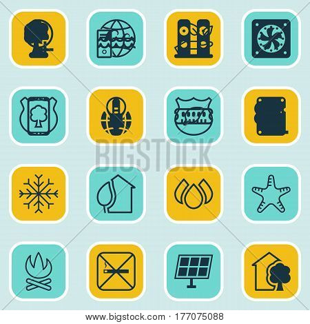 Set Of 16 Eco Icons. Includes Ocean Wave, Sea Star, Save World And Other Symbols. Beautiful Design Elements.