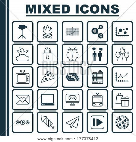 Set Of 25 Universal Editable Icons. Can Be Used For Web, Mobile And App Design. Includes Elements Such As Team Meeting, Following Music, Bush And More.