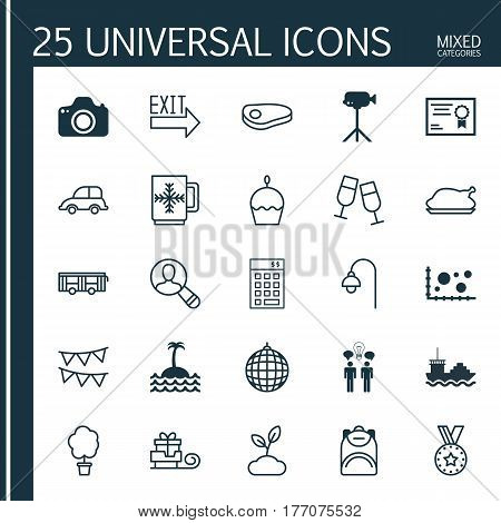 Set Of 25 Universal Editable Icons. Can Be Used For Web, Mobile And App Design. Includes Elements Such As Champagne Glasses, Birthday Cake, Dance Club And More.