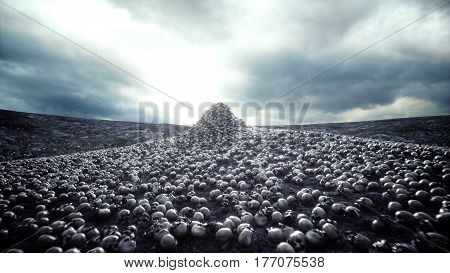 heap of skulls. Apocalypse and hell concept. 3d rendering