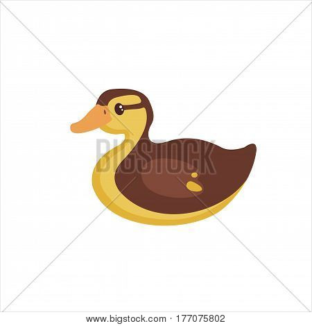 Cute Duckling in flat style isolated on white background. Vector illustration. Farm bird icon. Cartoon Duckling.