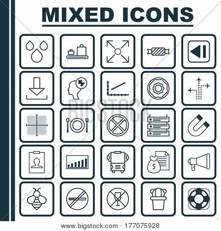 Set Of 25 Universal Editable Icons. Can Be Used For Web, Mobile And App Design. Includes Elements Such As Login, Sea Rescue, Attraction And More.