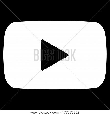 Play Video vector icon. Flat white symbol. Pictogram is isolated on a black background. Designed for web and software interfaces.