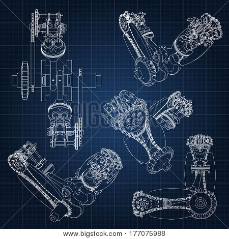 Various engine components, pistons, chains, nozzles and valves are depicted in the form of lines and contours. 3D drawing of assembly and parts