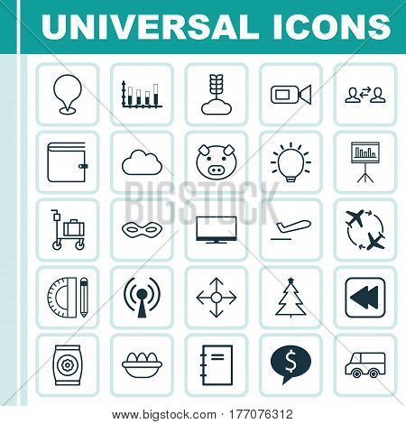 Set Of 25 Universal Editable Icons. Can Be Used For Web, Mobile And App Design. Includes Elements Such As Education Tools, Direction Arrows, Ovum And More.