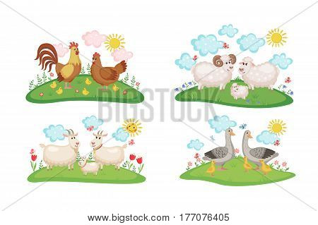 Set with Cute Farm animals families. Illustration with cartoon animals family on green meadow. Vector illustration.