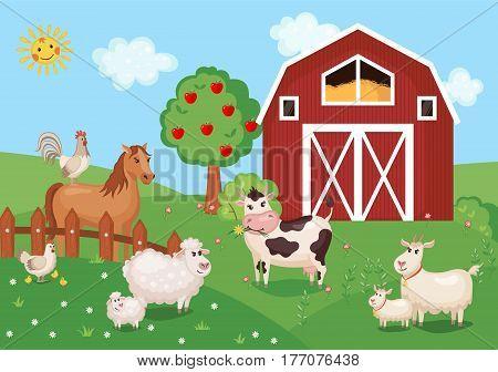 Farm animals and birds with barn house. Vector illustration. Agriculture concept. Cute cartoon animals on meadow grass.