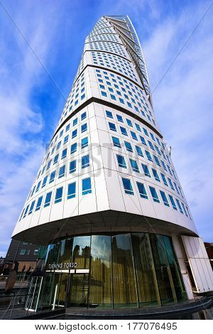 MALMO SWEDEN - MARCH 07 2017: Malmo Turning Torso Swedish city landmark is the tallest building in Sweden and whole Scandinavia measuring 190 meters (623 feet).