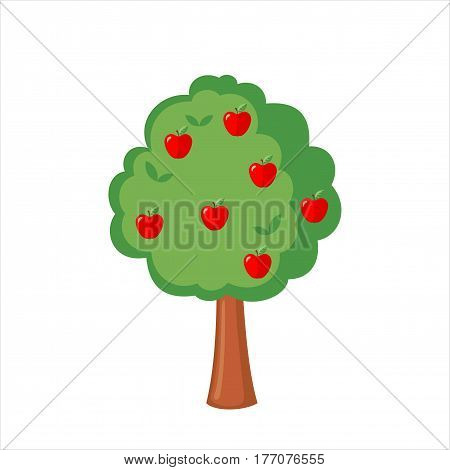 Green Apple tree full of red apples icon in flat style isolated on a white background. Vector illustration.