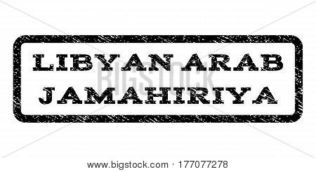 Libyan Arab Jamahiriya watermark stamp. Text caption inside rounded rectangle with grunge design style. Rubber seal stamp with dirty texture. Vector black ink imprint on a white background.