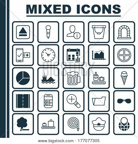 Set Of 25 Universal Editable Icons. Can Be Used For Web, Mobile And App Design. Includes Elements Such As Extract Device, Circle Chart, Range Line Graph And More.