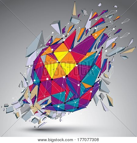 Abstract Colorful 3D Faceted Figure With Connected Lines And Dots. Vector Low Poly Shattered Design