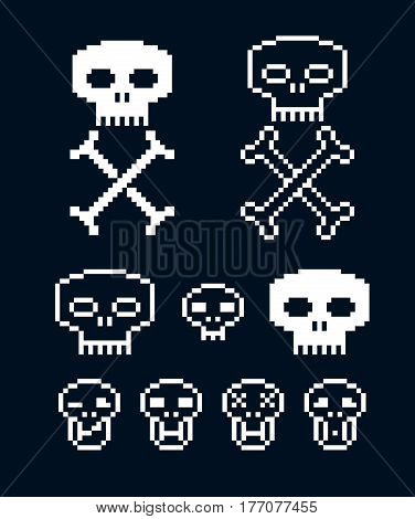 Vector craniums with crossed bones flat 8 bit icons collection of simple geometric pixel symbols. Digital web signs.
