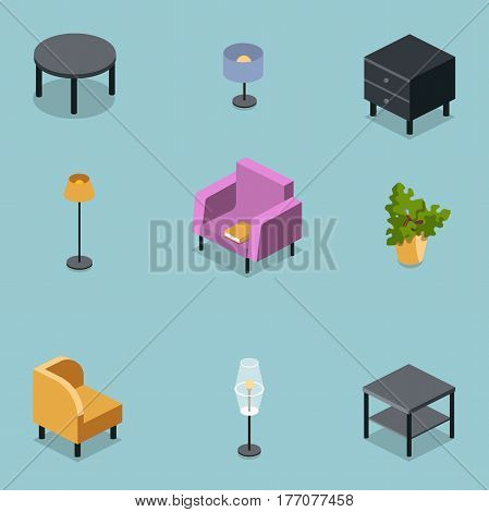 Vector isometric set of modern living room furniture, home constructor, armchair, floor lamp,coffee table flower pot,table lamp, bedside table,3d flat design,interior design elements.