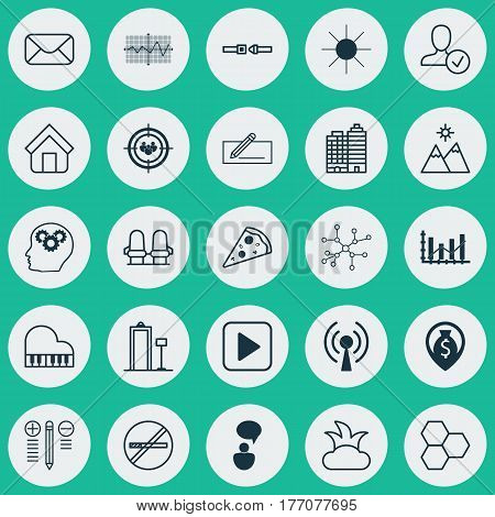 Set Of 25 Universal Editable Icons. Can Be Used For Web, Mobile And App Design. Includes Elements Such As Octave, Decision Making, Message And More.