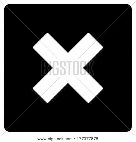 Close vector icon. Flat black symbol. Pictogram is isolated on a white background. Designed for web and software interfaces.