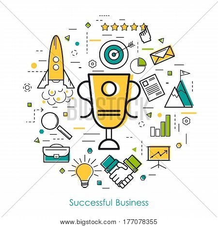 Vector round concept of business successful start up or personal success in thin line style. Cup award and business icons