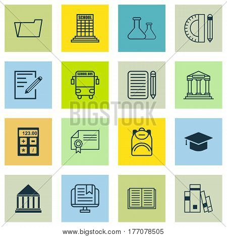 Set Of 16 School Icons. Includes E-Study, Paper, Diploma And Other Symbols. Beautiful Design Elements.