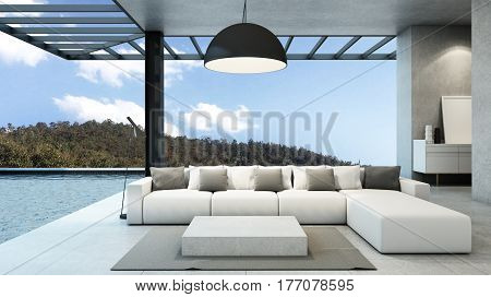 Livingroom in house style modern & loft pool villa take view mountain -3D render