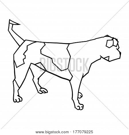 vector illustration of a looking away american bulldog outlined silhouette