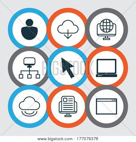 Set Of 9 World Wide Web Icons. Includes Blog Page, Mouse, Computer Network And Other Symbols. Beautiful Design Elements.