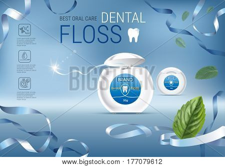 Dental floss ads. Vector 3d Illustration with tooth floss. Poster with product.