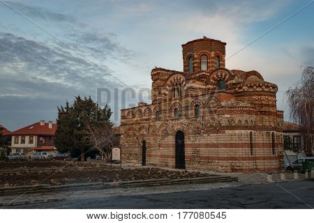 NESEBAR, BULGARIA - February 05, 2017: The Church of Christ Pantocrator is a medieval Eastern Orthodox church in the Bulgarian town Nesebar. In 1956 Nesebar was declared as museum city, archaeological and architectural reservation by UNESCO.