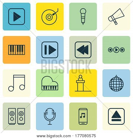 Set Of 16 Multimedia Icons. Includes Start Song, Note, Audio Mobile And Other Symbols. Beautiful Design Elements.