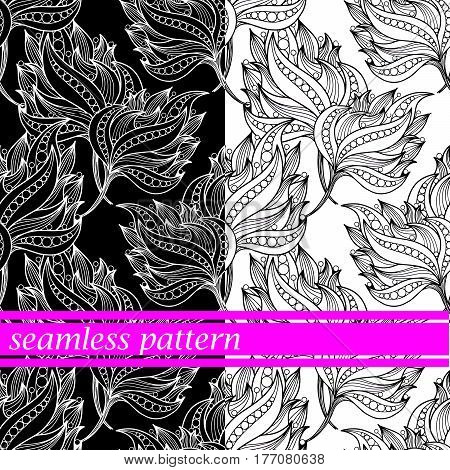 set of seamless pattern with black and white flowers. vector