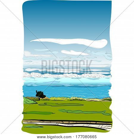 manuscript type hand-drawn vector illustration of an english seaview to La-Manche channel space for editing