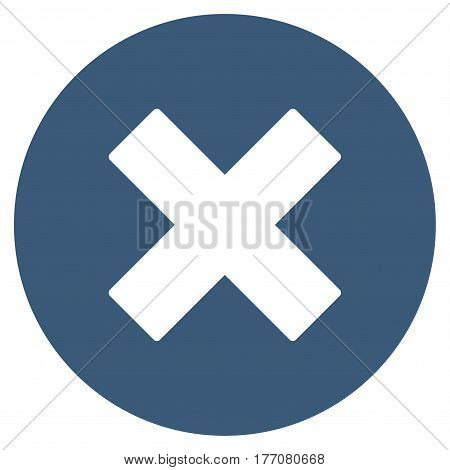 Cancel vector icon. Flat blue symbol. Pictogram is isolated on a white background. Designed for web and software interfaces.