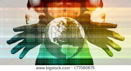 System Integration Network with Hands Holding Technology Globe 3D Illustration Render
