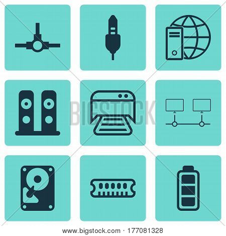 Set Of 9 Computer Hardware Icons. Includes Loudspeakers, Connected Devices, Network Structure And Other Symbols. Beautiful Design Elements.