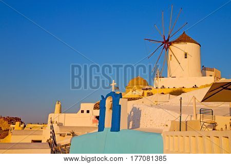 Old Mill In Santorini Greece Europe  And The Sky Sunrise