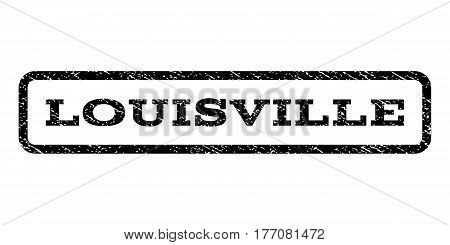 Louisville watermark stamp. Text caption inside rounded rectangle frame with grunge design style. Rubber seal stamp with unclean texture. Vector black ink imprint on a white background.
