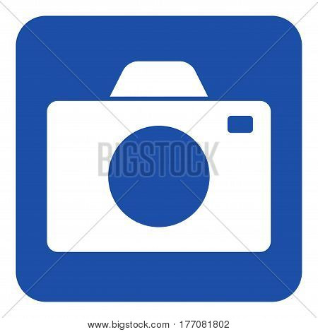 blue rounded square information road sign with white camera icon