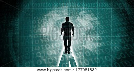 Man Surrounded By Technology in the Digital Age 3D Illustration Render