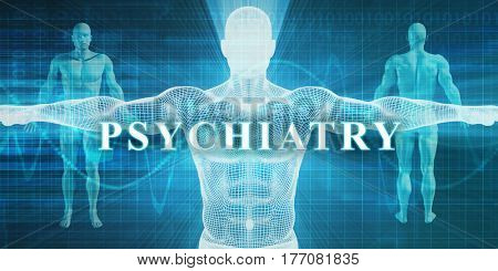 Psychiatry as a Medical Specialty Field or Department 3D Illustration Render
