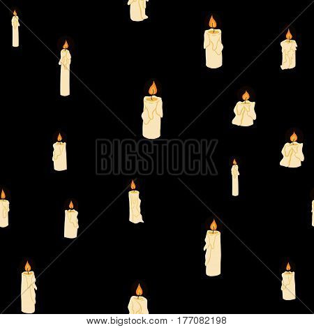 vector doodle shining in darkness burning candles seamless pattern