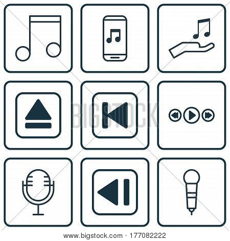 Set Of 9 Music Icons. Includes Mike, Note Donate, Note And Other Symbols. Beautiful Design Elements.