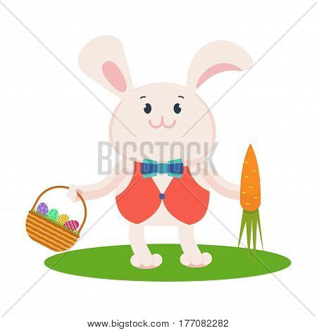 Easter Bunny With Eggs On Basket