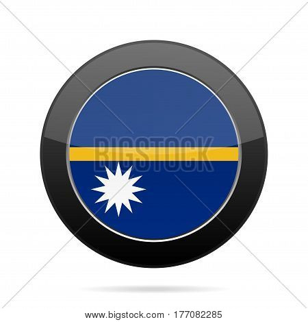 National flag of Nauru. Shiny black round button with shadow.