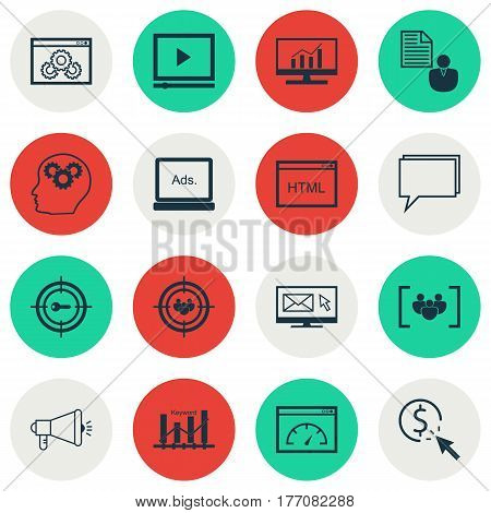 Set Of 16 Marketing Icons. Includes Focus Group, Newsletter, Media Campaign And Other Symbols. Beautiful Design Elements.