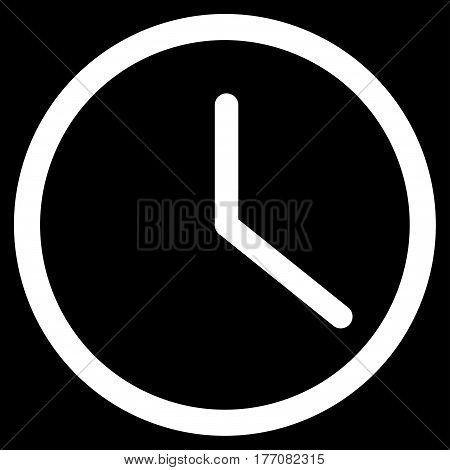 Clock vector icon. Flat white symbol. Pictogram is isolated on a black background. Designed for web and software interfaces.