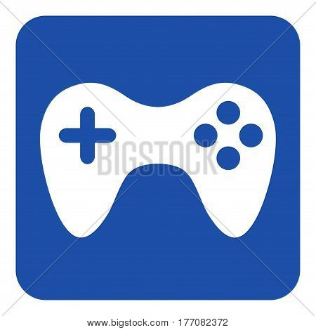 blue rounded square information road sign with white gamepad icon