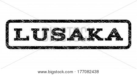 Lusaka watermark stamp. Text tag inside rounded rectangle frame with grunge design style. Rubber seal stamp with scratched texture. Vector black ink imprint on a white background.