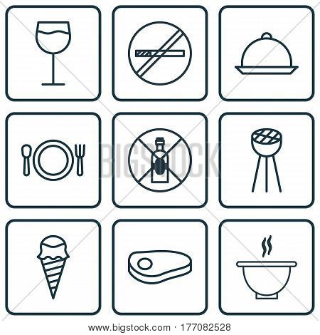 Set Of 9 Eating Icons. Includes Dessert, Wineglass, Dining And Other Symbols. Beautiful Design Elements.