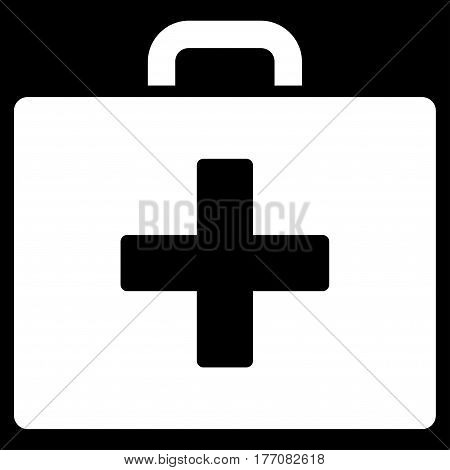 First Aid Bag vector icon. Flat white symbol. Pictogram is isolated on a black background. Designed for web and software interfaces.